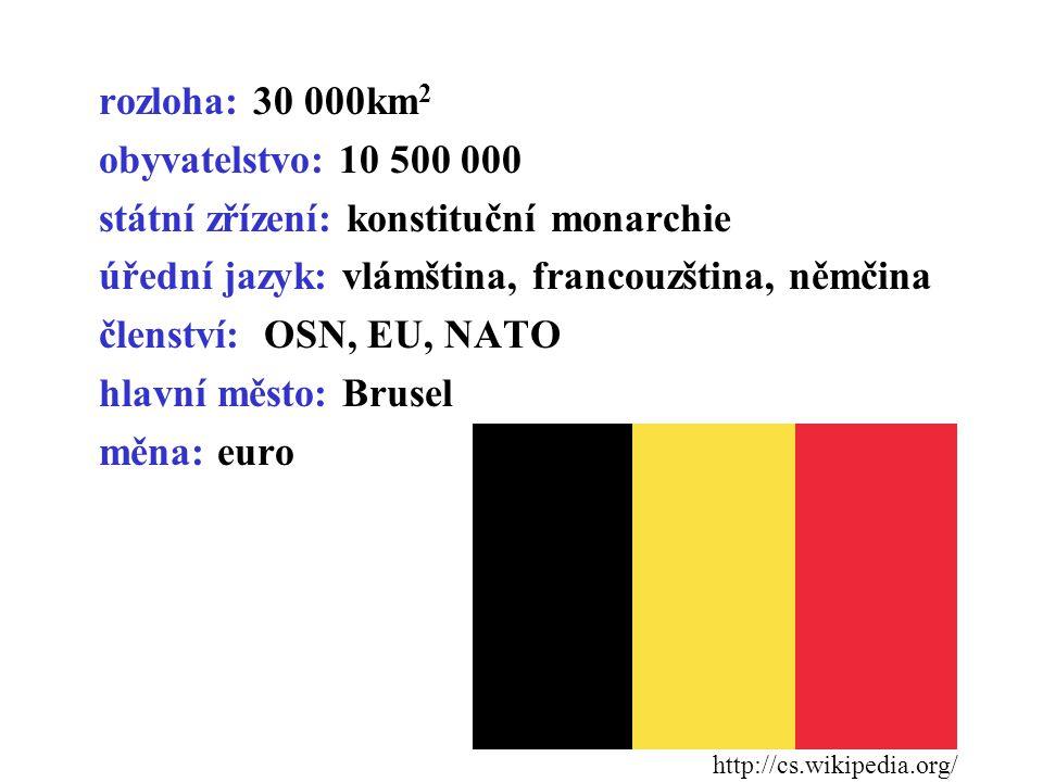 rozloha: 30 000km 2 obyvatelstvo: 10 500 000 státní zřízení: konstituční monarchie úřední jazyk: vlámština, francouzština, němčina členství: OSN, EU,