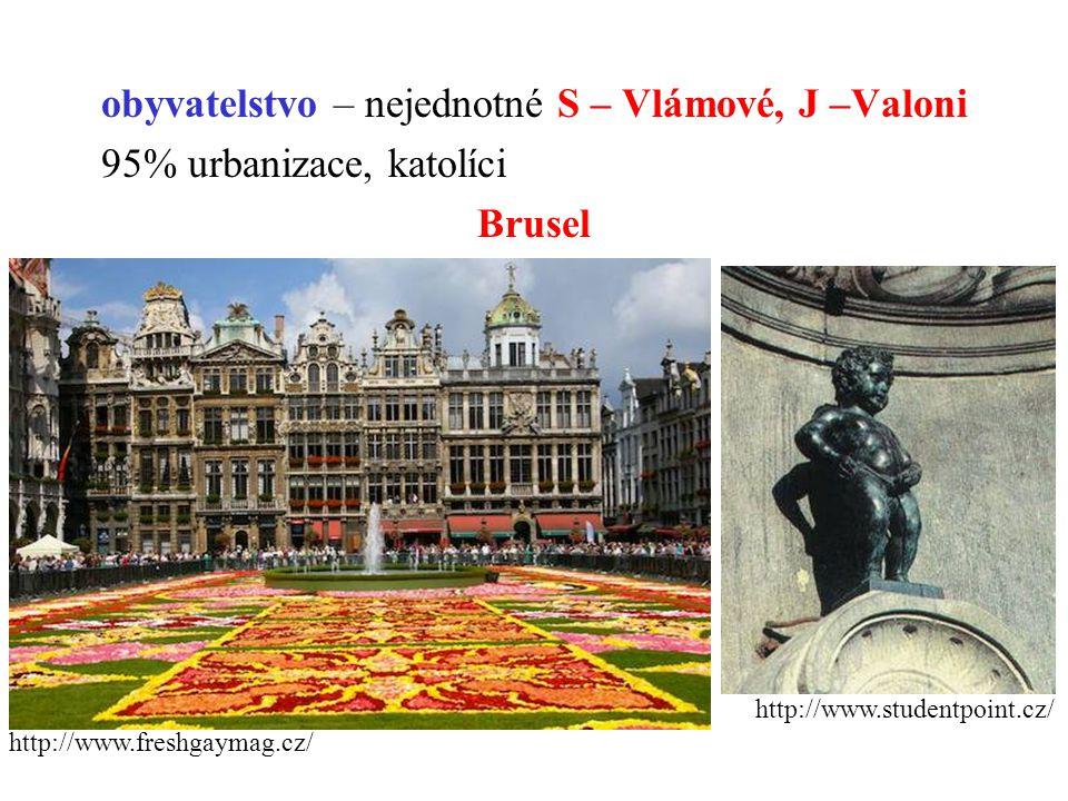 obyvatelstvo – nejednotné S – Vlámové, J –Valoni 95% urbanizace, katolíci Brusel http://www.studentpoint.cz/ http://www.freshgaymag.cz/