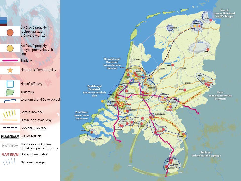 12 Špičkové projekty na restrukturalizaci průmyslových zón Špičkové projekty nových průmyslových zón Triple A Národní klíčové projekty Hlavní přístavy Turismus Ekonomické klíčové oblasti Centra inovace Hlavní spojovací osy Spojení Zuiderzee G30-Magistrát Město se špičkovým projektem pro prům.