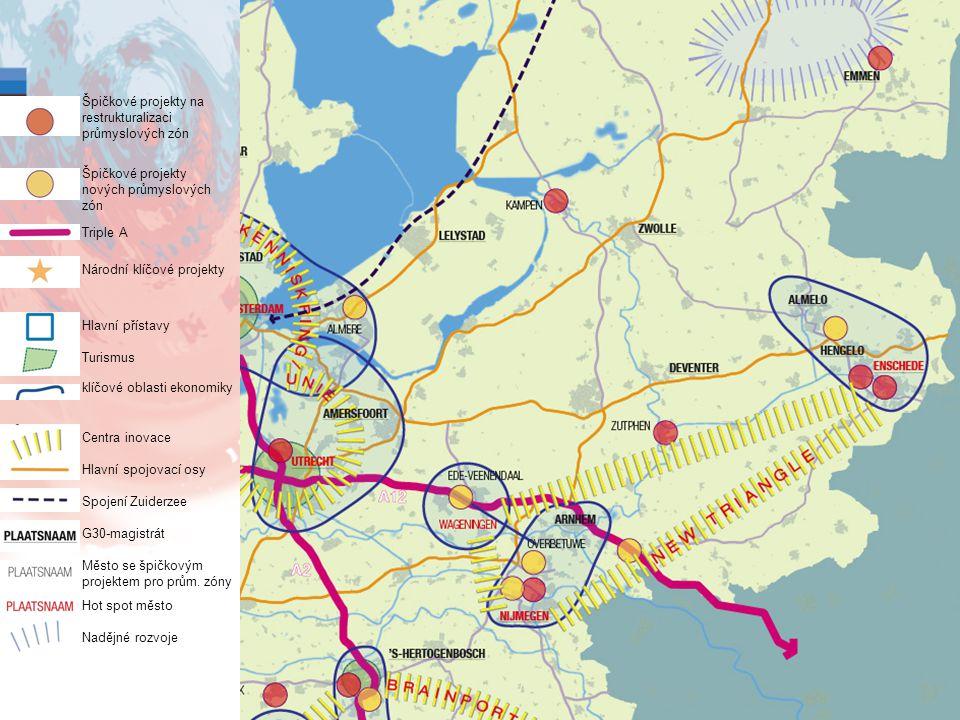 13 Špičkové projekty na restrukturalizaci průmyslových zón Špičkové projekty nových průmyslových zón Triple A Národní klíčové projekty Hlavní přístavy Turismus klíčové oblasti ekonomiky Centra inovace Hlavní spojovací osy Spojení Zuiderzee G30-magistrát Město se špičkovým projektem pro prům.