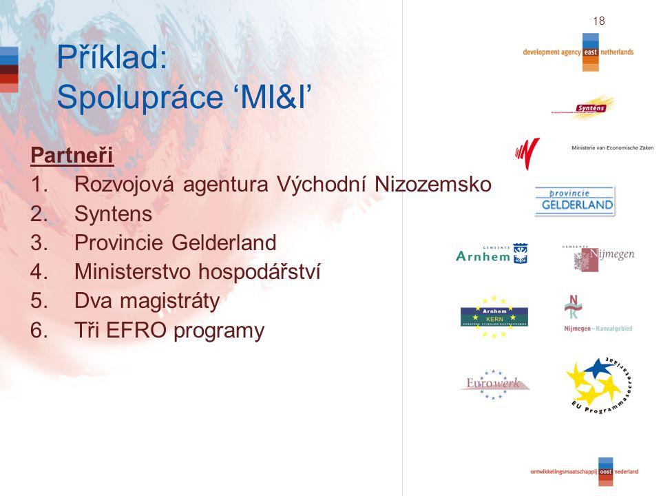 18 Příklad: Spolupráce 'MI&I' Partneři 1.Rozvojová agentura Východní Nizozemsko 2.Syntens 3.Provincie Gelderland 4.Ministerstvo hospodářství 5.Dva magistráty 6.Tři EFRO programy