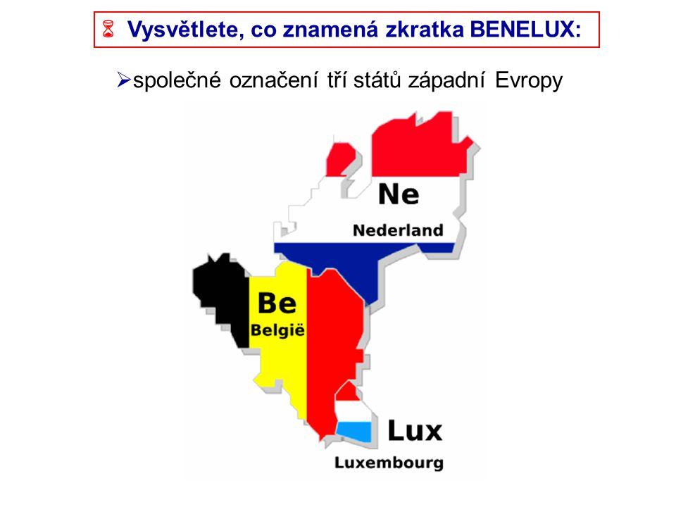  Vysvětlete, co znamená zkratka BENELUX:  společné označení tří států západní Evropy