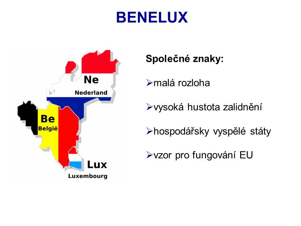 Společné znaky:  malá rozloha  vysoká hustota zalidnění  hospodářsky vyspělé státy  vzor pro fungování EU BENELUX