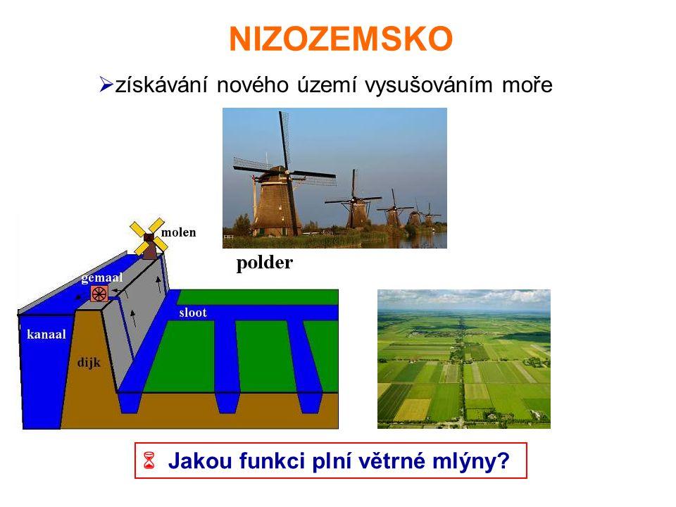 NIZOZEMSKO  získávání nového území vysušováním moře  Jakou funkci plní větrné mlýny?