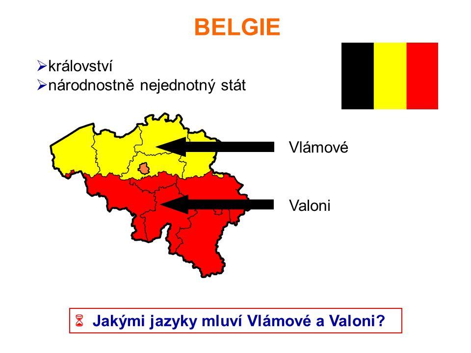 BELGIE  království  národnostně nejednotný stát Vlámové Valoni  Jakými jazyky mluví Vlámové a Valoni?