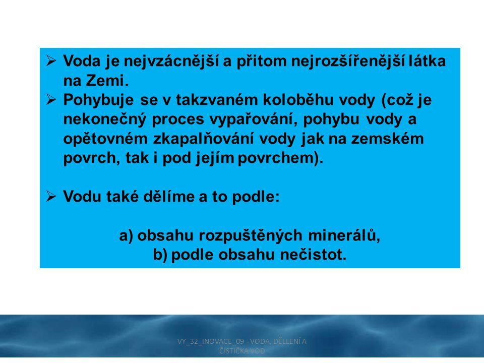  Voda je nejvzácnější a přitom nejrozšířenější látka na Zemi.