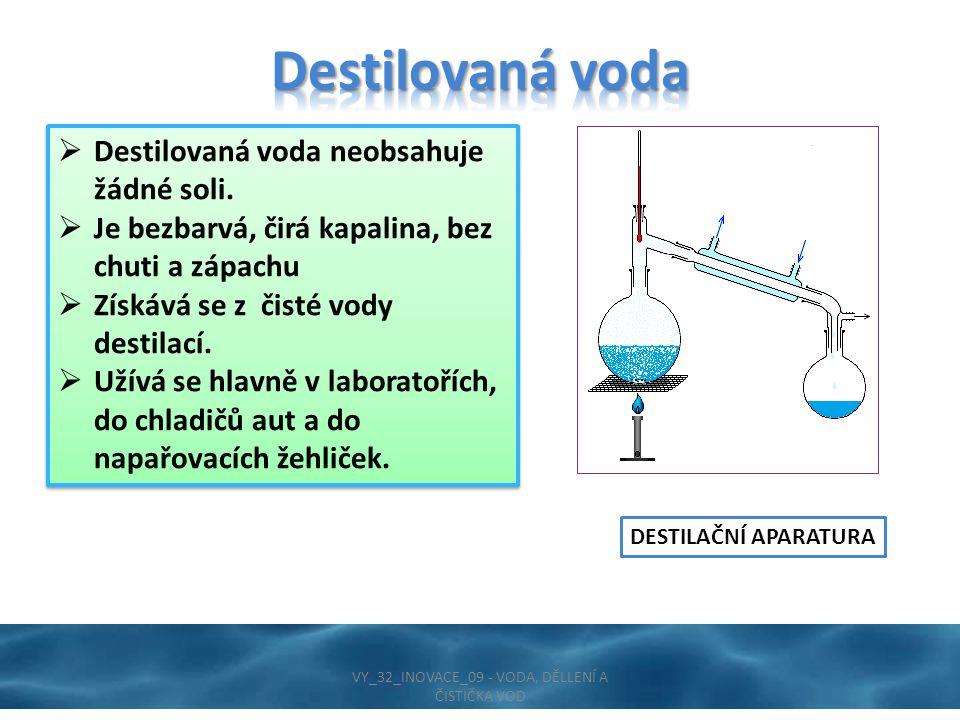  Destilovaná voda neobsahuje žádné soli.