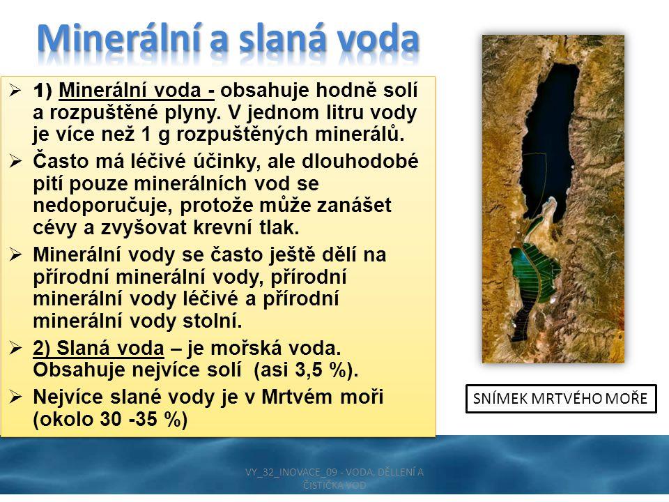  1) Minerální voda - obsahuje hodně solí a rozpuštěné plyny.