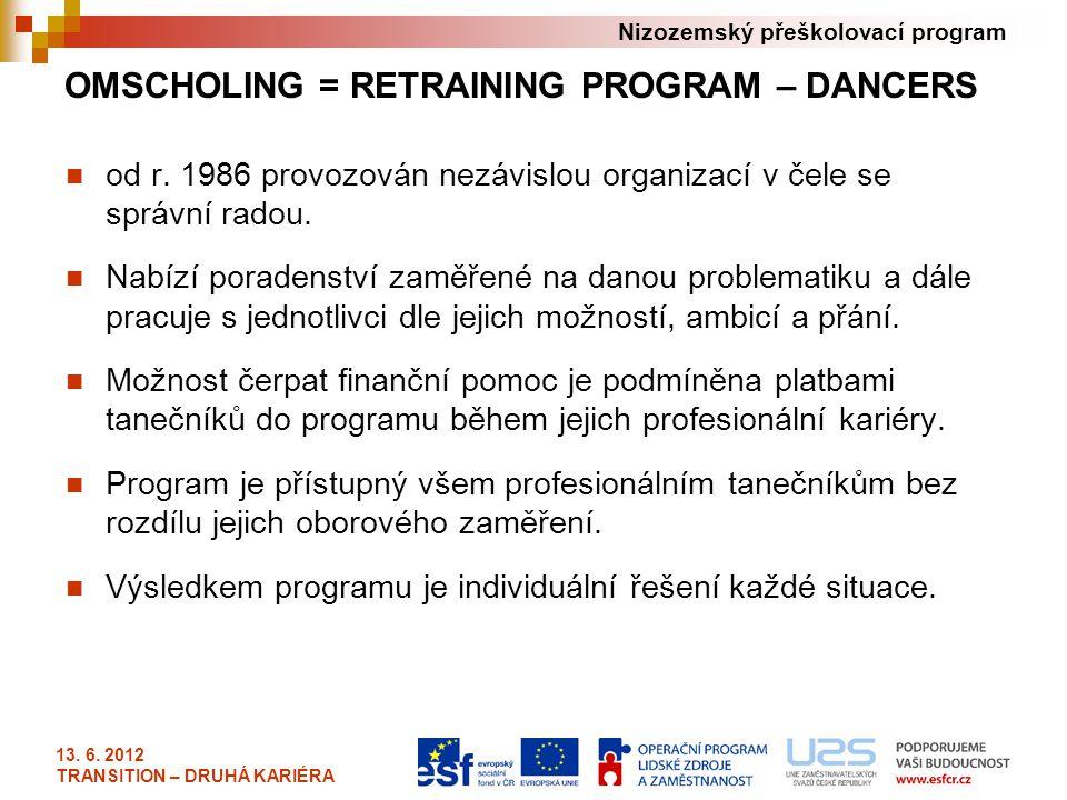 Nizozemský přeškolovací program OMSCHOLING = RETRAINING PROGRAM – DANCERS od r. 1986 provozován nezávislou organizací v čele se správní radou. Nabízí