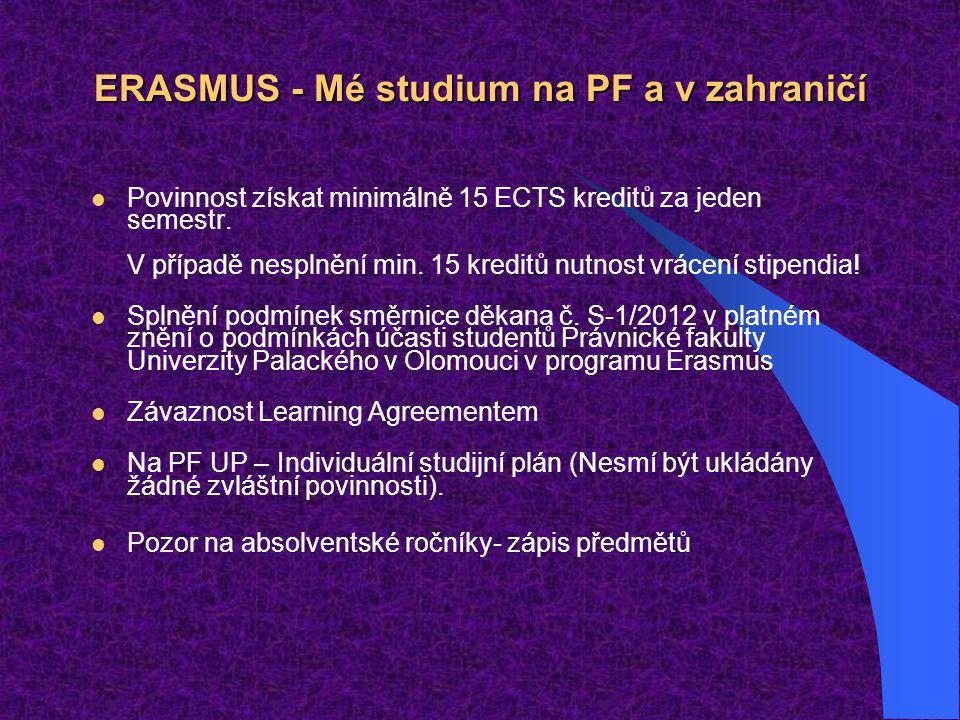 ERASMUS - Mé studium na PF a v zahraničí Povinnost získat minimálně 15 ECTS kreditů za jeden semestr.