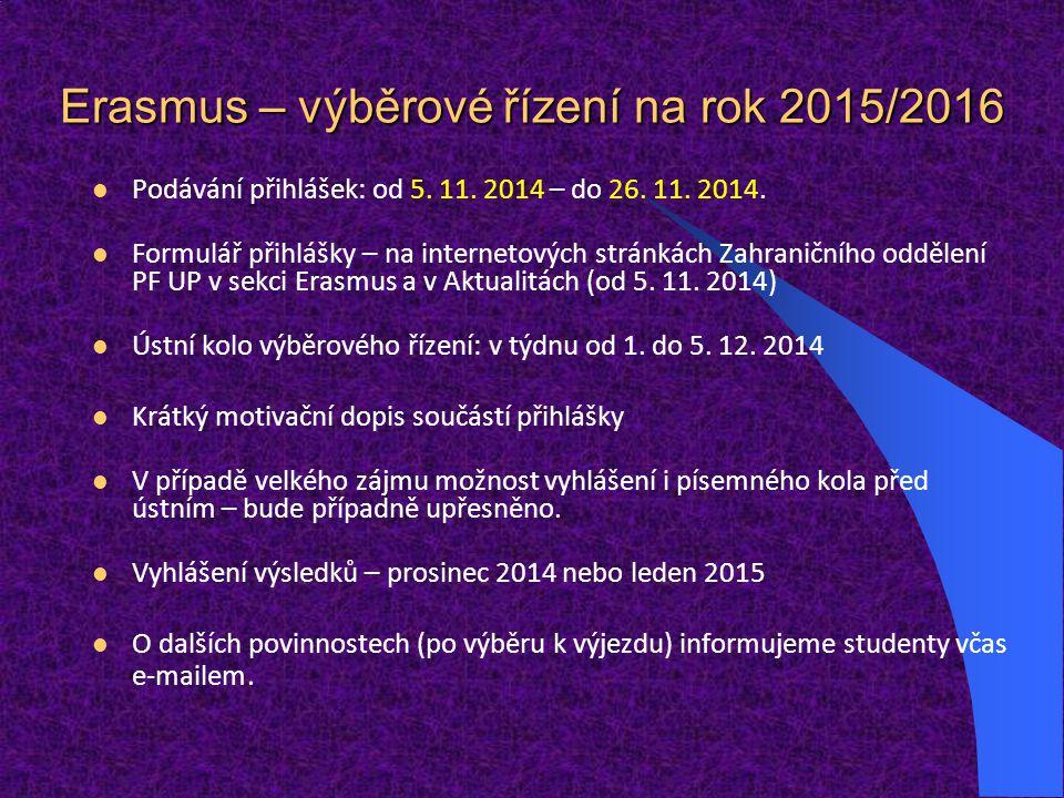 Erasmus – výběrové řízení na rok 2015/2016 Podávání přihlášek: od 5. 11. 2014 – do 26. 11. 2014. Formulář přihlášky – na internetových stránkách Zahra