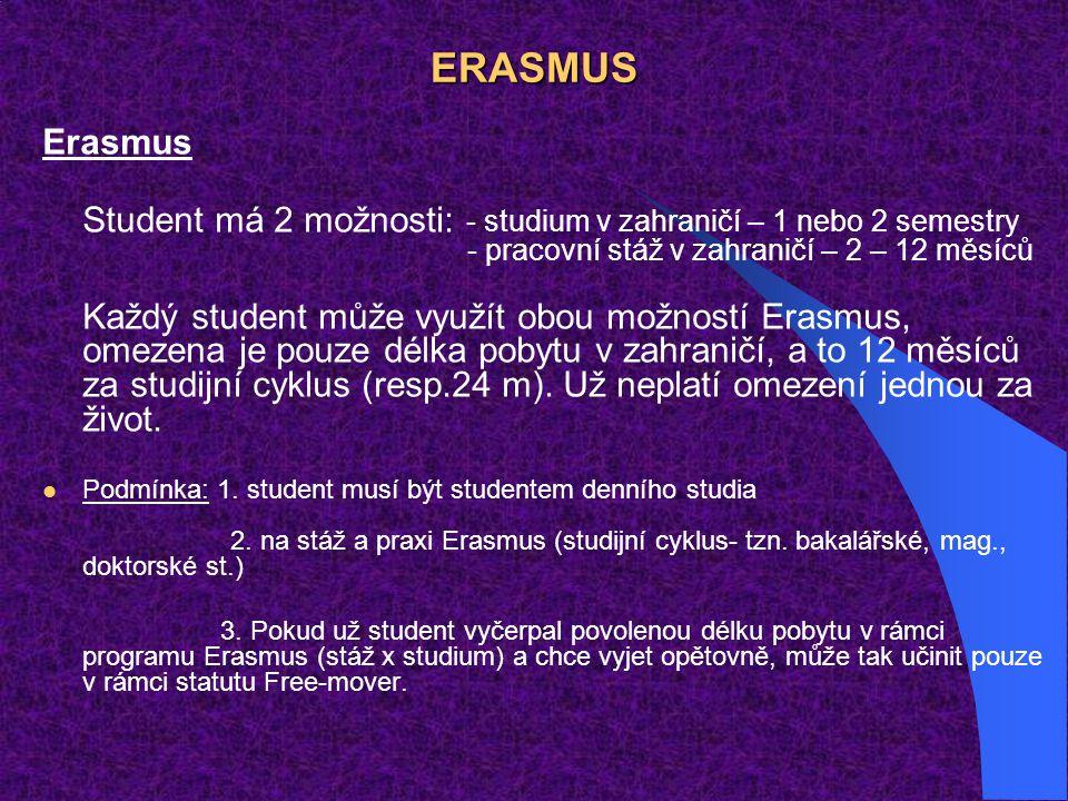 ERASMUS Erasmus Student má 2 možnosti: - studium v zahraničí – 1 nebo 2 semestry - pracovní stáž v zahraničí – 2 – 12 měsíců Každý student může využít