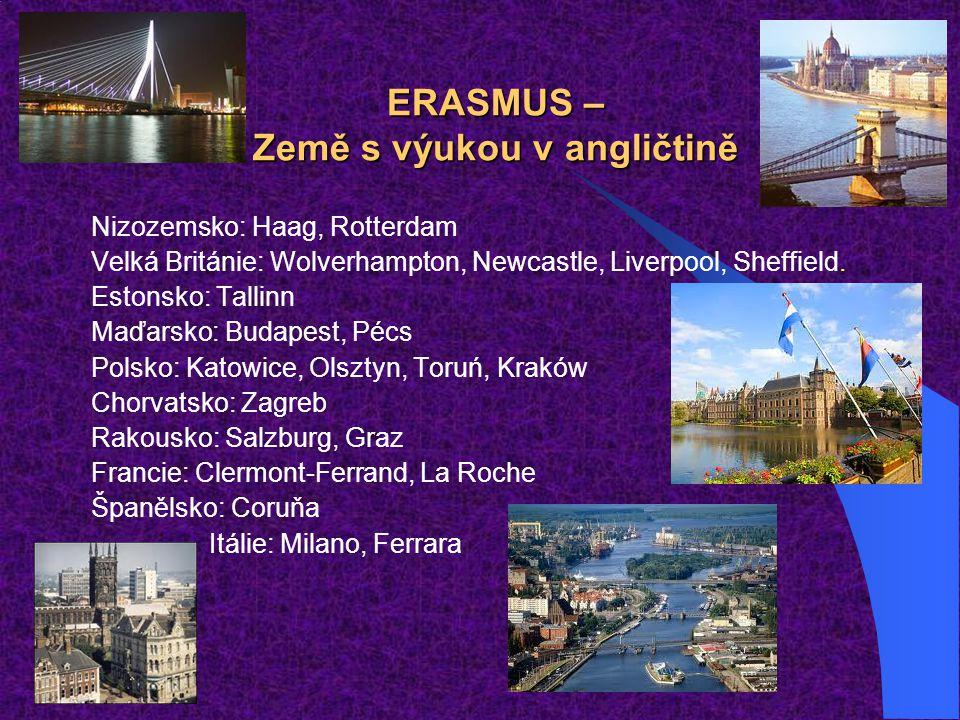 ERASMUS – Země s výukou v angličtině Nizozemsko: Haag, Rotterdam Velká Británie: Wolverhampton, Newcastle, Liverpool, Sheffield. Estonsko: Tallinn Maď