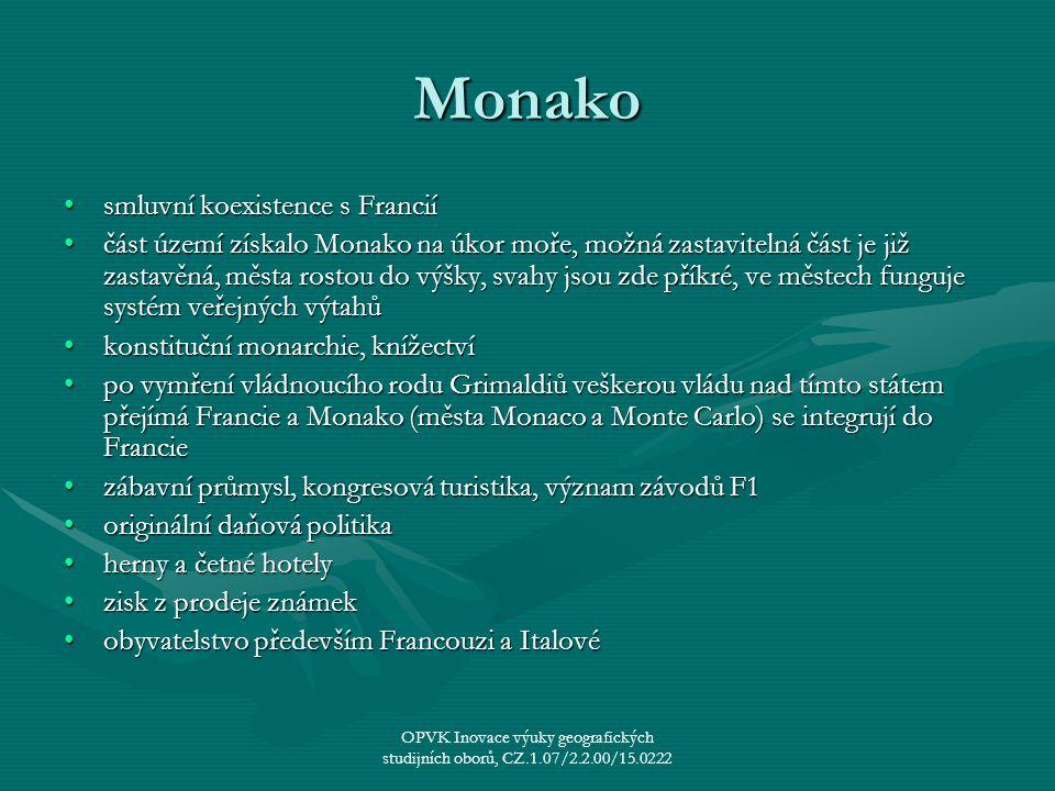 Monako smluvní koexistence s Franciísmluvní koexistence s Francií část území získalo Monako na úkor moře, možná zastavitelná část je již zastavěná, mě