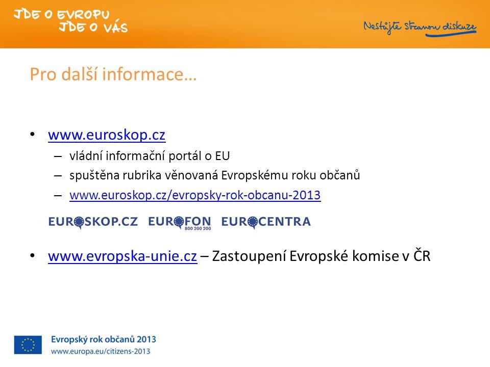 Pro další informace… www.euroskop.cz – vládní informační portál o EU – spuštěna rubrika věnovaná Evropskému roku občanů – www.euroskop.cz/evropsky-rok-obcanu-2013 www.euroskop.cz/evropsky-rok-obcanu-2013 www.evropska-unie.cz – Zastoupení Evropské komise v ČR www.evropska-unie.cz