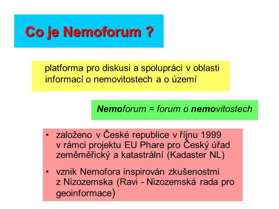 Co je Nemoforum ? platforma pro diskusi a spolupráci v oblasti informací o nemovitostech a o území založeno v České republice v říjnu 1999 v rámci pro