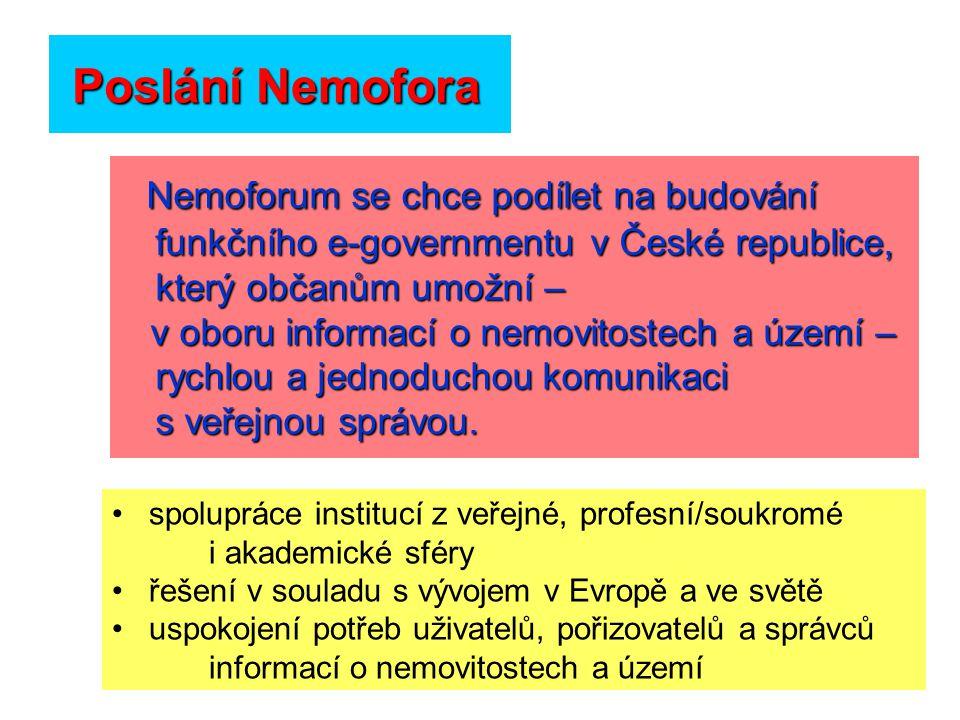 Poslání Nemofora Nemoforum se chce podílet na budování funkčního e-governmentu v České republice, který občanům umožní – v oboru informací o nemovitostech a území – rychlou a jednoduchou komunikaci s veřejnou správou.
