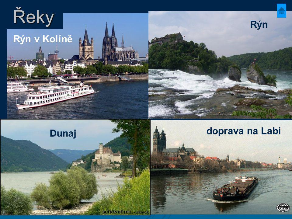 Rýn v Kolíně doprava na Labi Dunaj Rýn Řeky