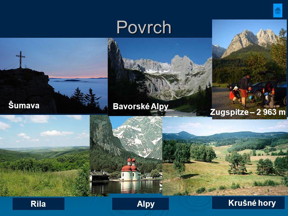 Povrch Rila Alpy Krušné hory Šumava Bavorské Alpy Zugspitze – 2 963 m
