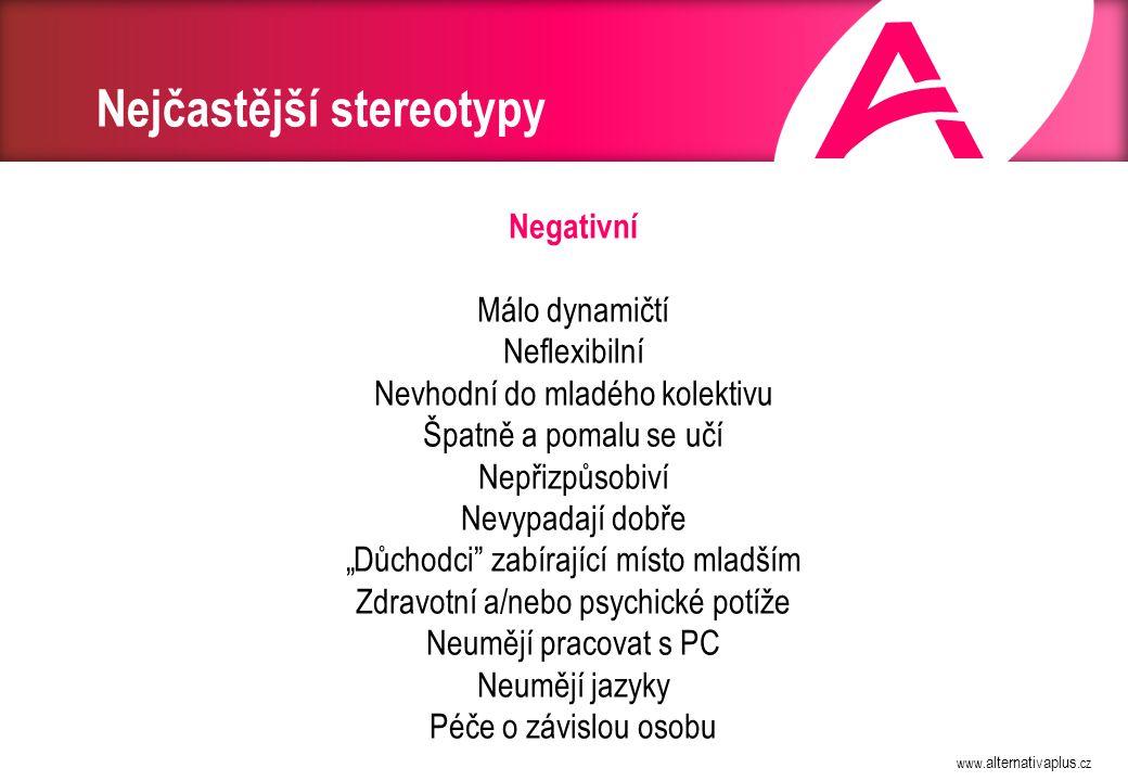 www. alternativaplus.cz Nejčastější stereotypy Negativní Málo dynamičtí Neflexibilní Nevhodní do mladého kolektivu Špatně a pomalu se učí Nepřizpůsobi