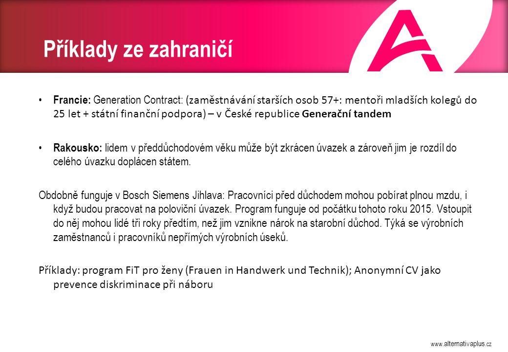 www. alternativaplus.cz Příklady ze zahraničí Francie: Generation Contract: (zaměstnávání starších osob 57+: mentoři mladších kolegů do 25 let + státn