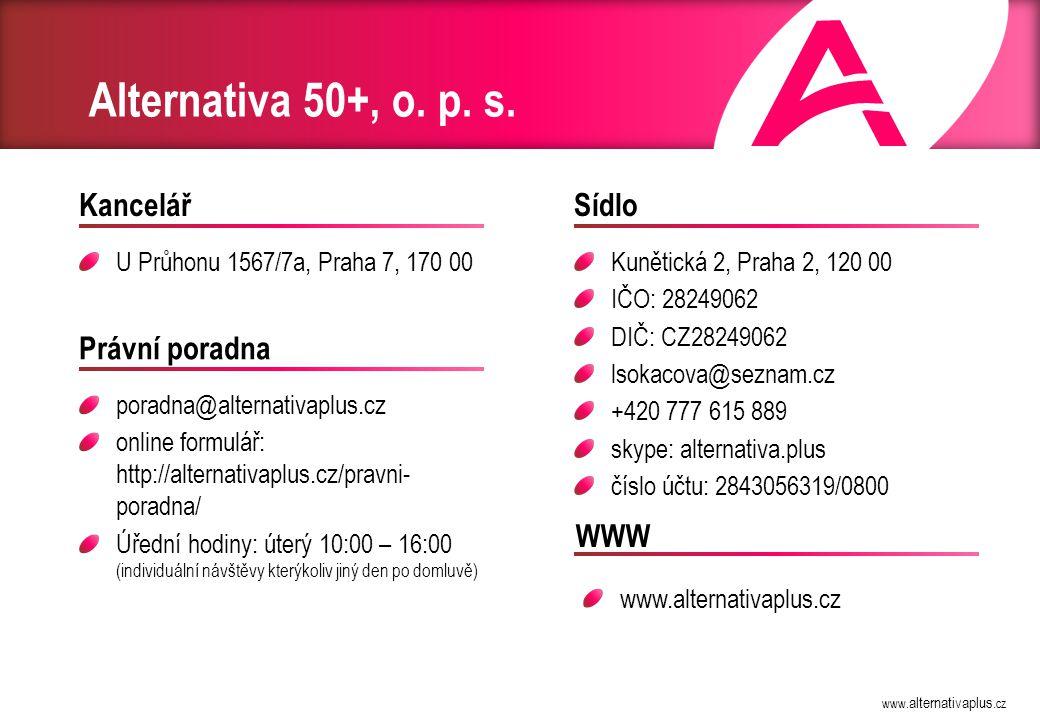 www.alternativaplus.cz Alternativa 50+, o. p. s.