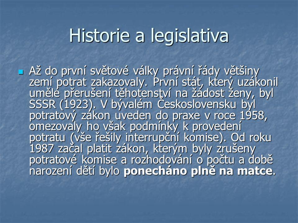 Historie a legislativa Až do první světové války právní řády většiny zemí potrat zakazovaly.
