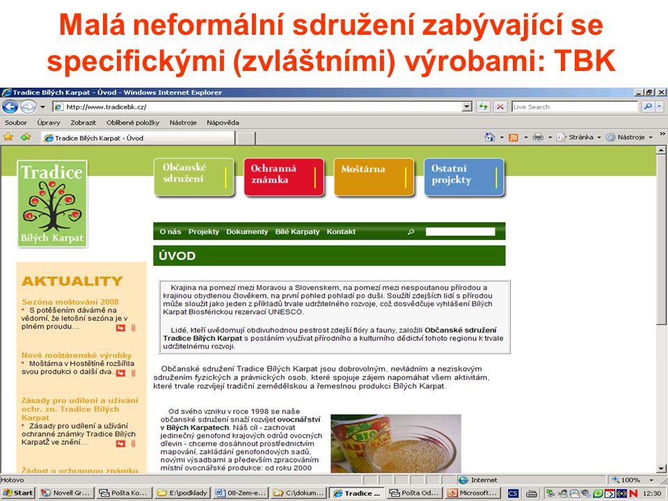 Malá neformální sdružení zabývající se specifickými (zvláštními) výrobami: TBK