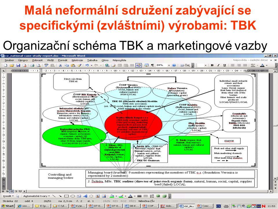 Malá neformální sdružení zabývající se specifickými (zvláštními) výrobami: TBK Organizační schéma TBK a marketingové vazby