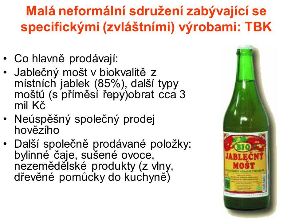 Malá neformální sdružení zabývající se specifickými (zvláštními) výrobami: TBK Co hlavně prodávají: Jablečný mošt v biokvalitě z místních jablek (85%), další typy moštů (s příměsí řepy)obrat cca 3 mil Kč Neúspěšný společný prodej hovězího Další společně prodávané položky: bylinné čaje, sušené ovoce, nezemědělské produkty (z vlny, dřevěné pomůcky do kuchyně)