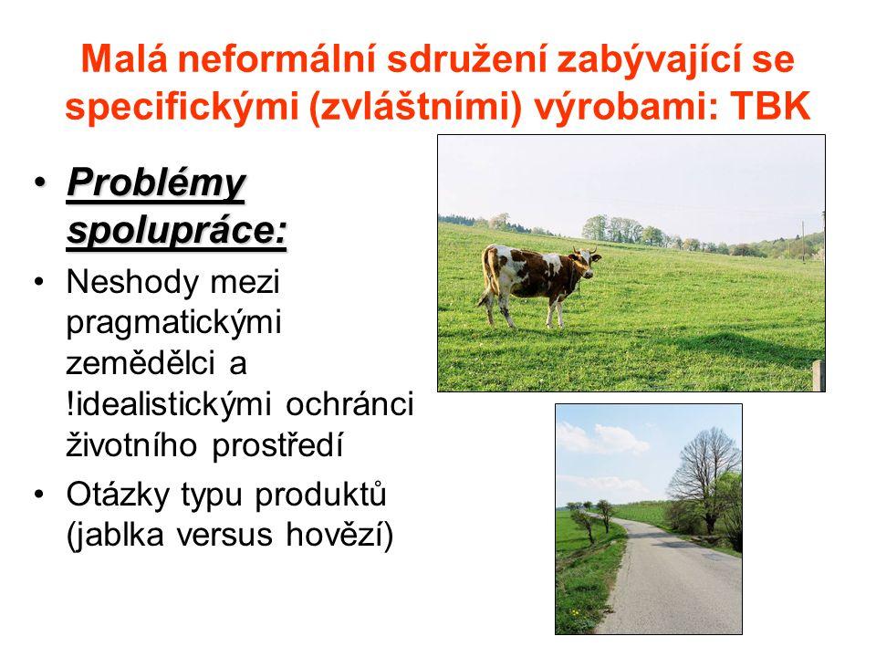 Malá neformální sdružení zabývající se specifickými (zvláštními) výrobami: TBK Problémy spolupráce:Problémy spolupráce: Neshody mezi pragmatickými zemědělci a !idealistickými ochránci životního prostředí Otázky typu produktů (jablka versus hovězí)