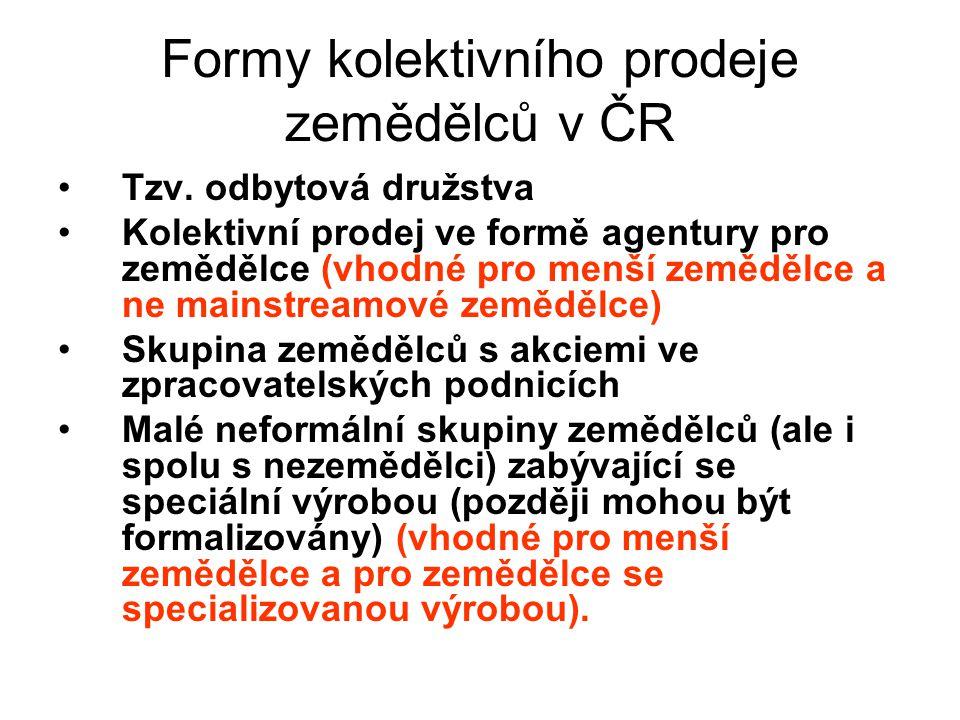 Formy kolektivního prodeje zemědělců v ČR Tzv.