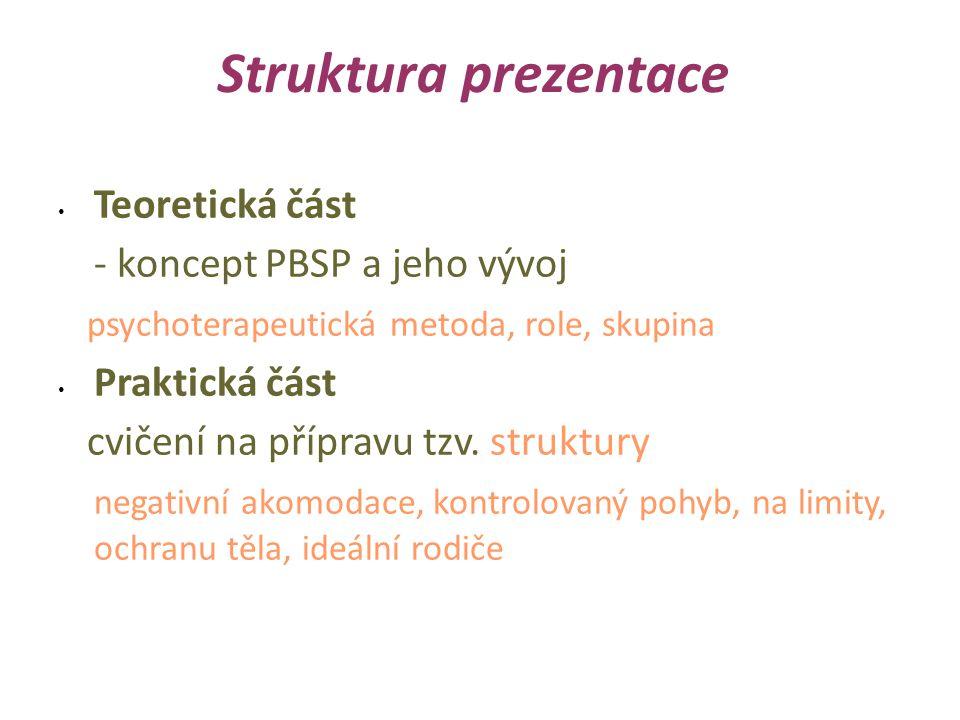 Struktura prezentace Teoretická část - koncept PBSP a jeho vývoj psychoterapeutická metoda, role, skupina Praktická část cvičení na přípravu tzv.