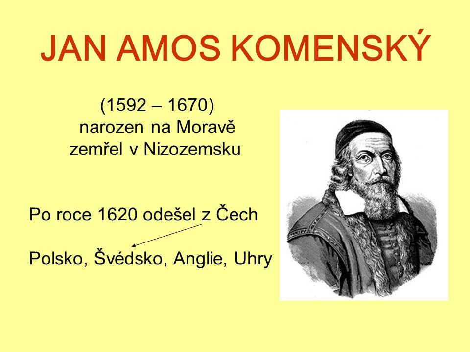 JAN AMOS KOMENSKÝ (1592 – 1670) narozen na Moravě zemřel v Nizozemsku Po roce 1620 odešel z Čech Polsko, Švédsko, Anglie, Uhry