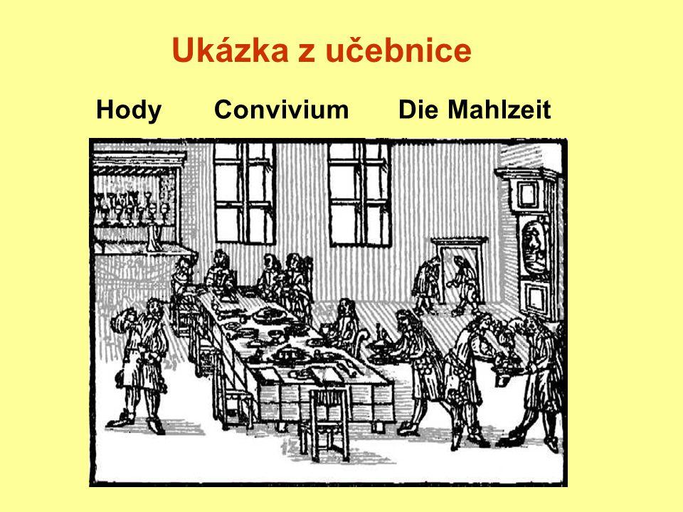 hody,Convivium,eine Mahlzeit, stůl bývá prostřenMensa sterbiturwird der Tisch (Tafel) kobercitapetibusgdect mit Teppichen a ubrusem& Mappa,und dem Tischtuch od stolníků,a Triclinariis,von den Tafeldeckern, jenž na to předkládajíqui praeterea apponuntwelche über das auflegen talíře,Discos (Orbes)die Teller lžíce,Cochlearia,Löffeln, nožeCultros,Messer s vidličkami,cum Fuscinulis,und Gabeln, ubrousky,Mappulas,Tellertüchlein, chlébPanemBrod se slánkou.cum Salino.und Salzfaß.