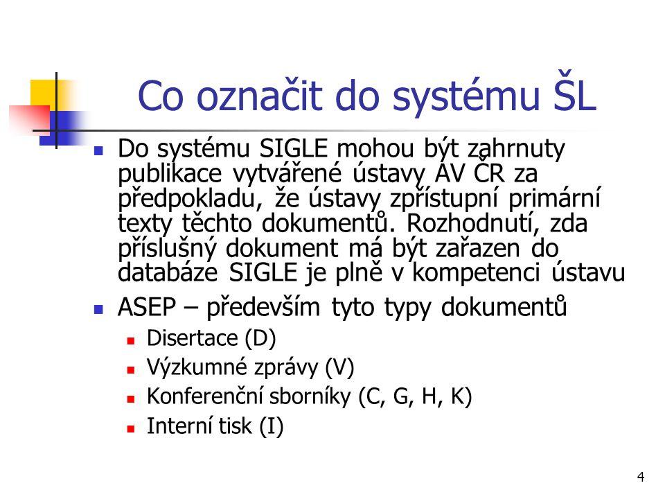 4 Co označit do systému ŠL Do systému SIGLE mohou být zahrnuty publikace vytvářené ústavy AV ČR za předpokladu, že ústavy zpřístupní primární texty tě