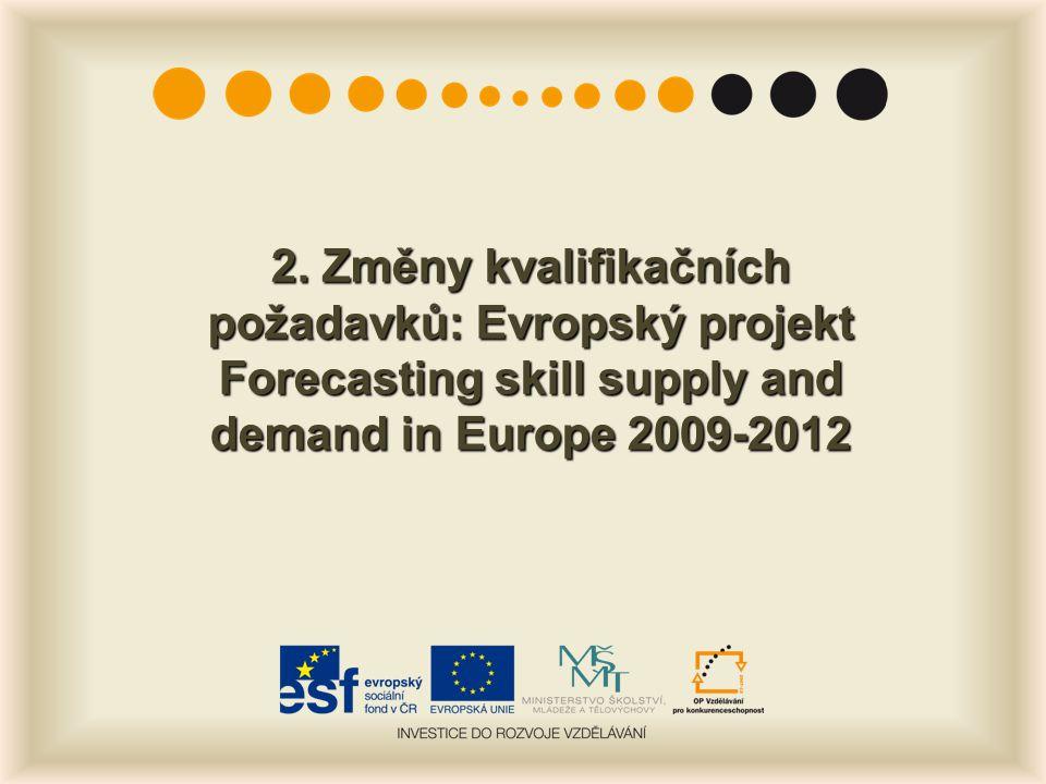 2. Změny kvalifikačních požadavků: Evropský projekt Forecasting skill supply and demand in Europe 2009-2012