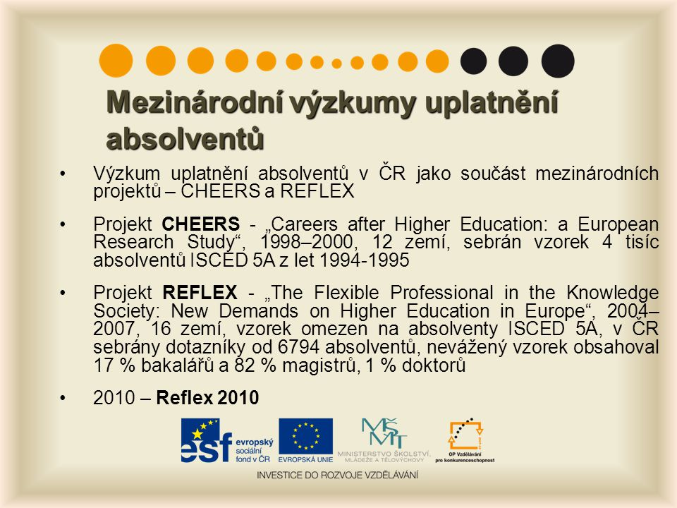 Šetření REFLEX 2010 Národní projekt, postavený na zkušenostech z mezinárodního projektu REFLEX Data sbírána mezi květnem a zářím 2010 Cílová skupina: absolventi VŠ z let 2005 a 2006 Účastnilo se 20 veřejných, jedna státní a tři soukromé VŠ Dotazník byl přístupný přes internet Celkem sebráno 8629 dotazníků, což představuje návratnost 20 %; Nevážený vzorek absolventů z let 2005 nebo 2006 zahrnuje 31,7 % bakalářů, 67,7 % magistrů a 0,6 % doktorů
