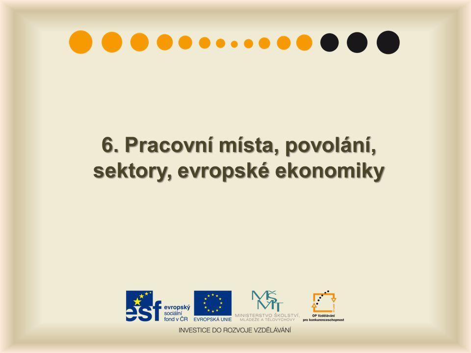 6. Pracovní místa, povolání, sektory, evropské ekonomiky