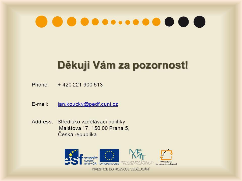 Děkuji Vám za pozornost! Phone: + 420 221 900 513 E-mail:jan.koucky@pedf.cuni.czjan.koucky@pedf.cuni.cz Address: Středisko vzdělávací politiky Malátov