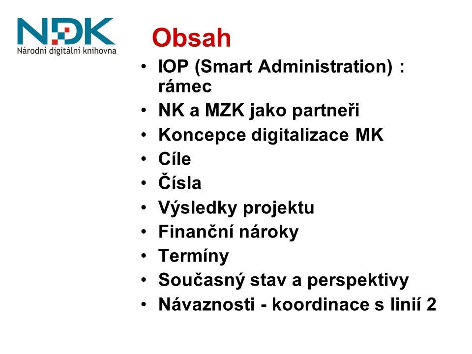 Obsah IOP (Smart Administration) : rámec NK a MZK jako partneři Koncepce digitalizace MK Cíle Čísla Výsledky projektu Finanční nároky Termíny Současný stav a perspektivy Návaznosti - koordinace s linií 2