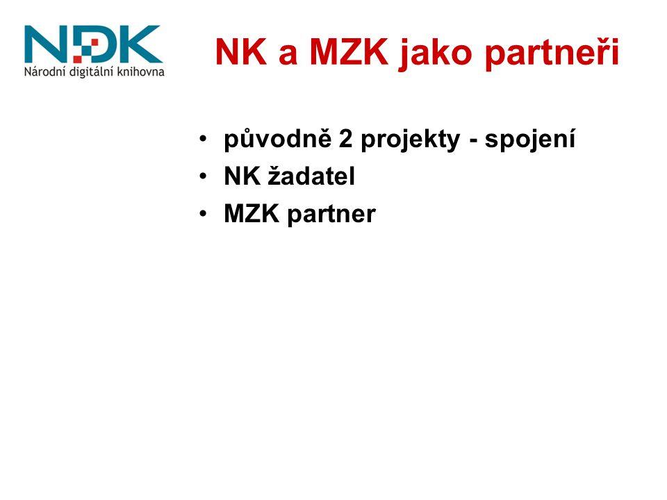 NK a MZK jako partneři původně 2 projekty - spojení NK žadatel MZK partner