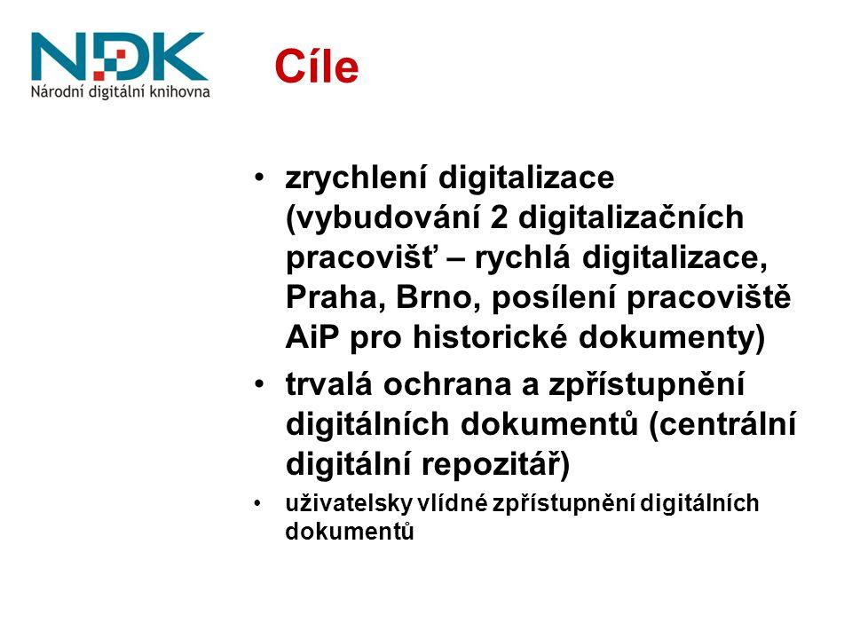 Cíle zrychlení digitalizace (vybudování 2 digitalizačních pracovišť – rychlá digitalizace, Praha, Brno, posílení pracoviště AiP pro historické dokumenty) trvalá ochrana a zpřístupnění digitálních dokumentů (centrální digitální repozitář) uživatelsky vlídné zpřístupnění digitálních dokumentů