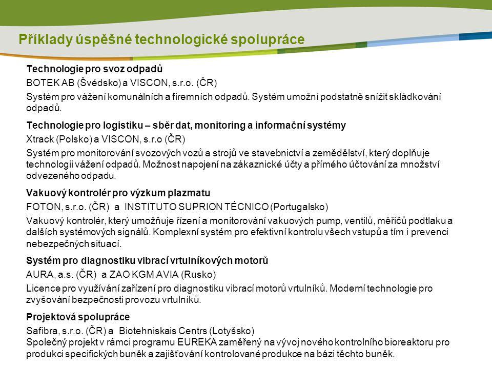 Příklady úspěšné technologické spolupráce Technologie pro svoz odpadů BOTEK AB (Švédsko) a VISCON, s.r.o.