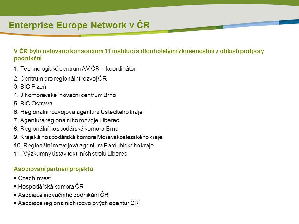 Enterprise Europe Network v ČR V ČR bylo ustaveno konsorcium 11 institucí s dlouholetými zkušenostmi v oblasti podpory podnikání 1.