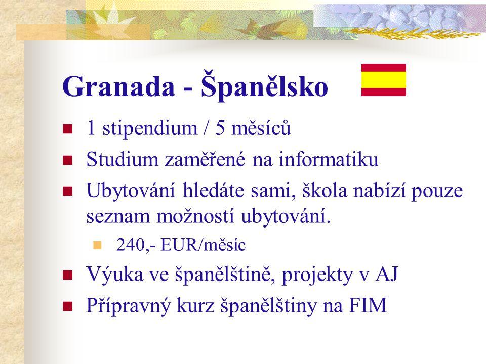 Granada - Španělsko 1 stipendium / 5 měsíců Studium zaměřené na informatiku Ubytování hledáte sami, škola nabízí pouze seznam možností ubytování.
