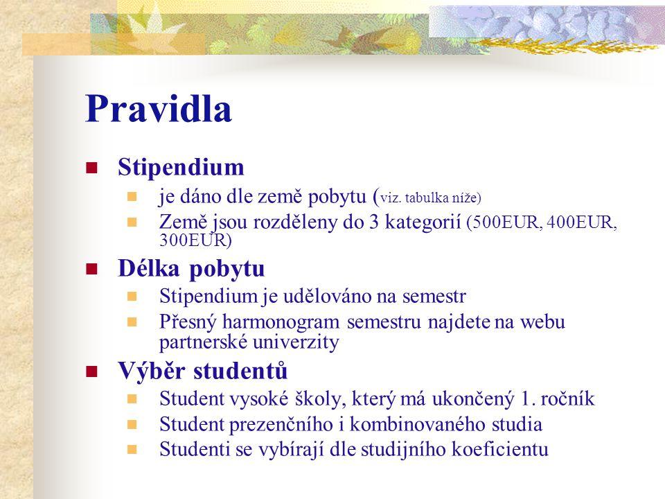 Pravidla Stipendium je dáno dle země pobytu ( viz.