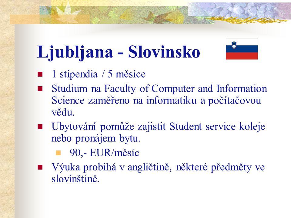 Ljubljana - Slovinsko 1 stipendia / 5 měsíce Studium na Faculty of Computer and Information Science zaměřeno na informatiku a počítačovou vědu.