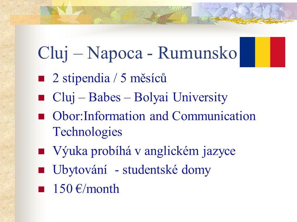 Cluj – Napoca - Rumunsko 2 stipendia / 5 měsíců Cluj – Babes – Bolyai University Obor:Information and Communication Technologies Výuka probíhá v anglickém jazyce Ubytování - studentské domy 150 €/month