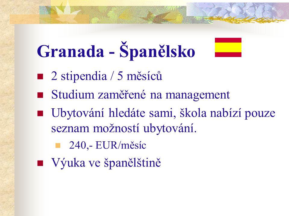 Granada - Španělsko 2 stipendia / 5 měsíců Studium zaměřené na management Ubytování hledáte sami, škola nabízí pouze seznam možností ubytování.